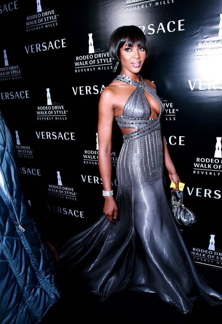 50 Shades of Grey (dresses) Naomi Campbell in a grey dress
