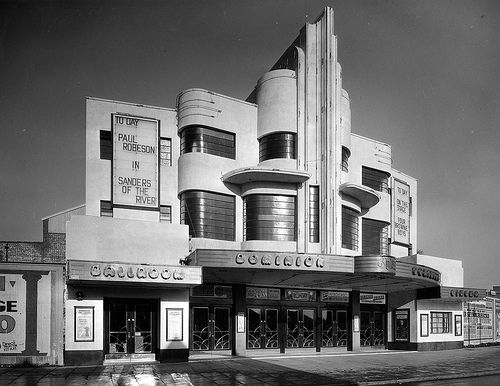 """modernism-in-metroland:  Southall Dominion (1935) by F.E. Bromige. One of a number of impressive art deco cinemas in London's suburbs by this Harrow based architect. Sadly like many of his designs, this building has been demolished. Image from dusashenka on flickr.   """