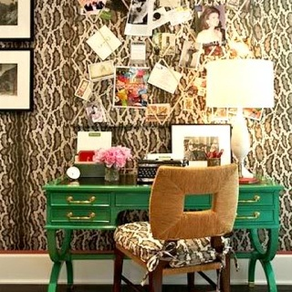 Desk area...love the green with animal print