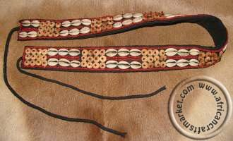 African Tribal cowrie shell belt