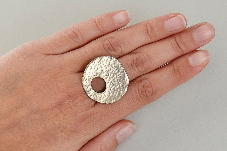 Chunky hammered ring, large asymmetric ring, plain bold ring, middle finger ring, contemporary ring, women gift idea, statement jewelry by ColorLatinoJewelry on Etsy