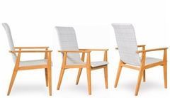 2018 New - Elegance In-outdoors Teak+Wicker Hiback Dining Armchair