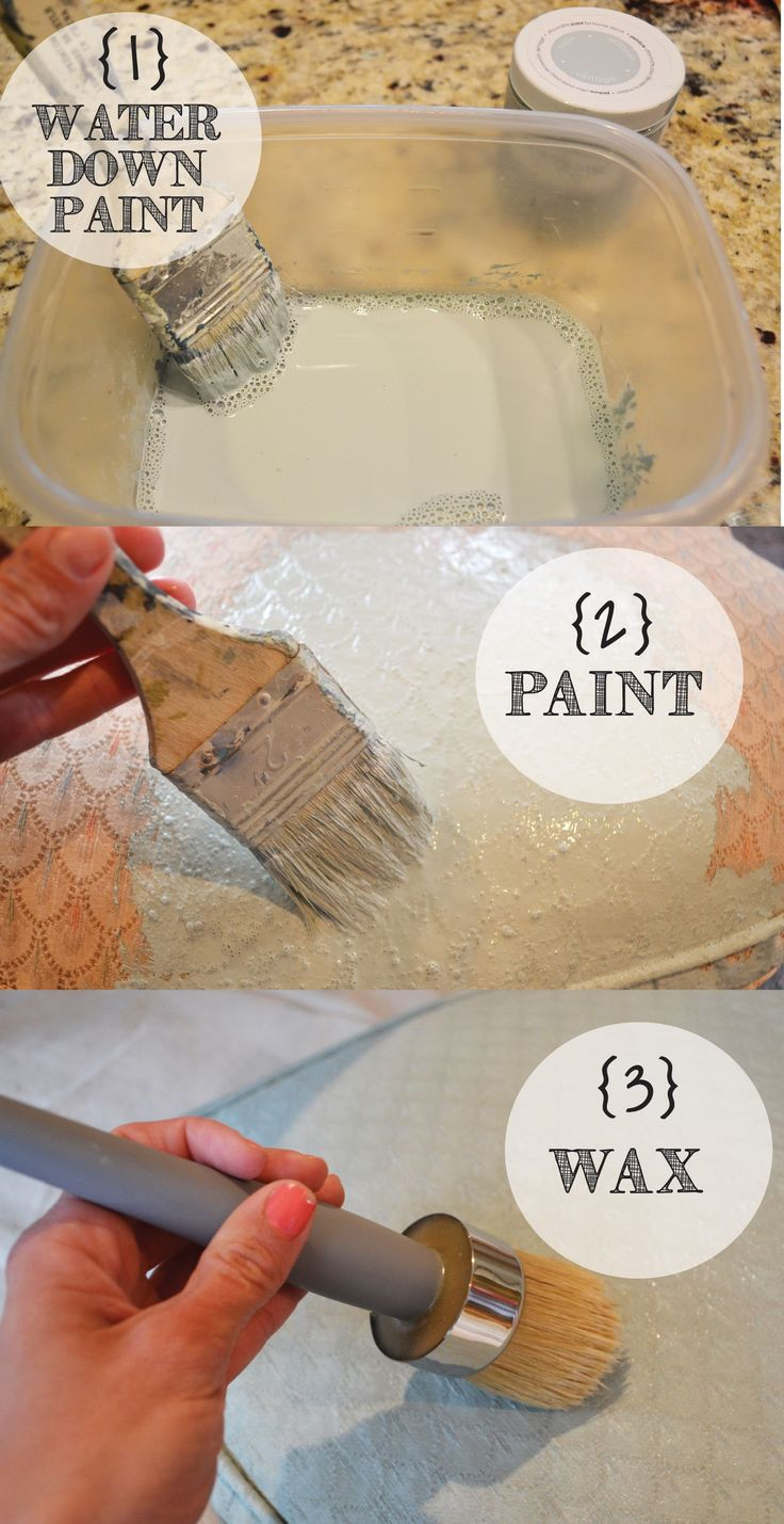 ChalkyPaintSteps(FABRIC)  --  Water down the chalk paint: 1 part water to 1 part paint.  Let the first coat dry and apply a second coat.  Once the second coat dries, apply 2 coats of clear wax to the fabric.  ***For a softer feel to the upholstery fabric, some bloggers say to sand the fabric BEFORE waxing.
