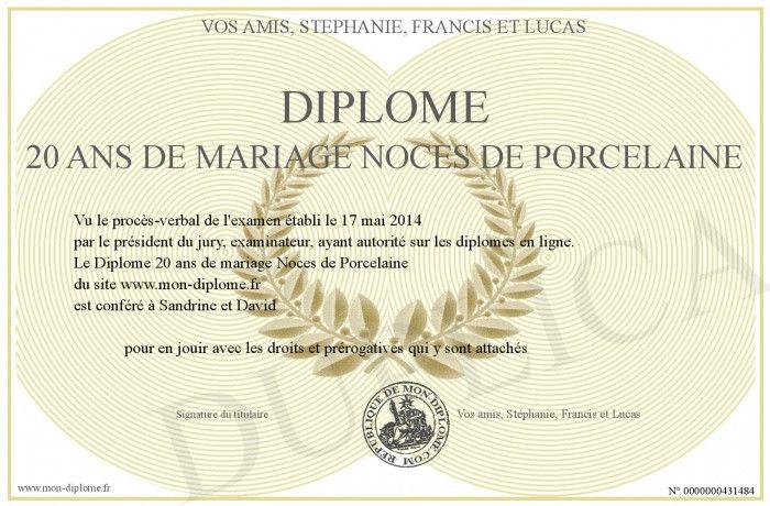 Diplome 20 Ans De Mariage Noces De Porcelaine 20 Meilleures Noce De 20 Ans Diplome Gratuit Diplome Diplome Du Meilleur Papa