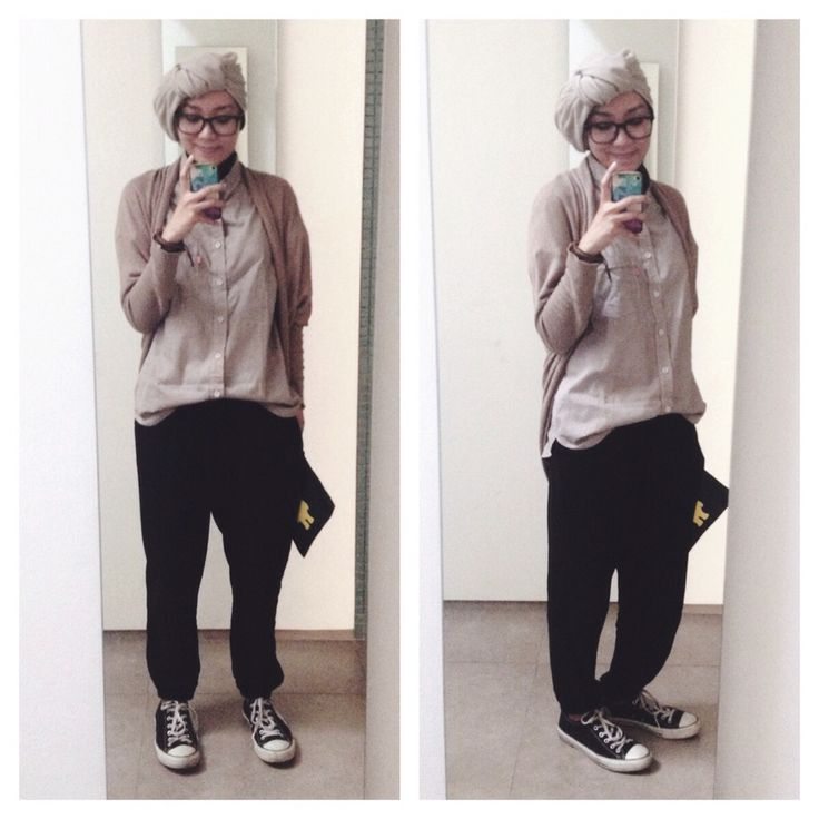 Ootd hijab style : slouchy pants, converse, cardigan, shirt, turban #fien