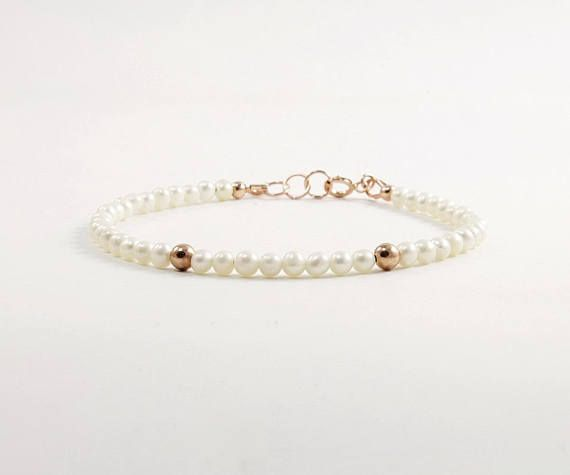 Delicate pearl bracelet rose gold 4mm White freshwater pearl