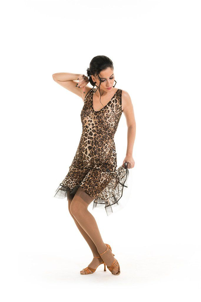 Stock Clearance Victoria Blitz Latin & Cocktail Dress LA011 Leopard Print