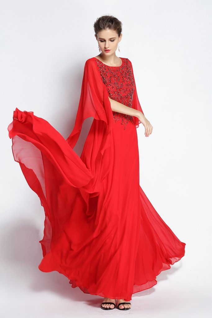 77ccc2531e A-Line Floor-length Jewel Chiffon Long Sleeve Prom Dress with Beading and  Pleats-334090