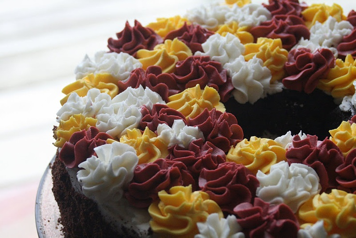 Redskins cake - chocolate cake with a strawberry cheesecake filling.