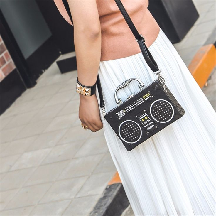 HANDBAG - Under $30.   Novelty women leather handbags personality radio mini crossbody bag.