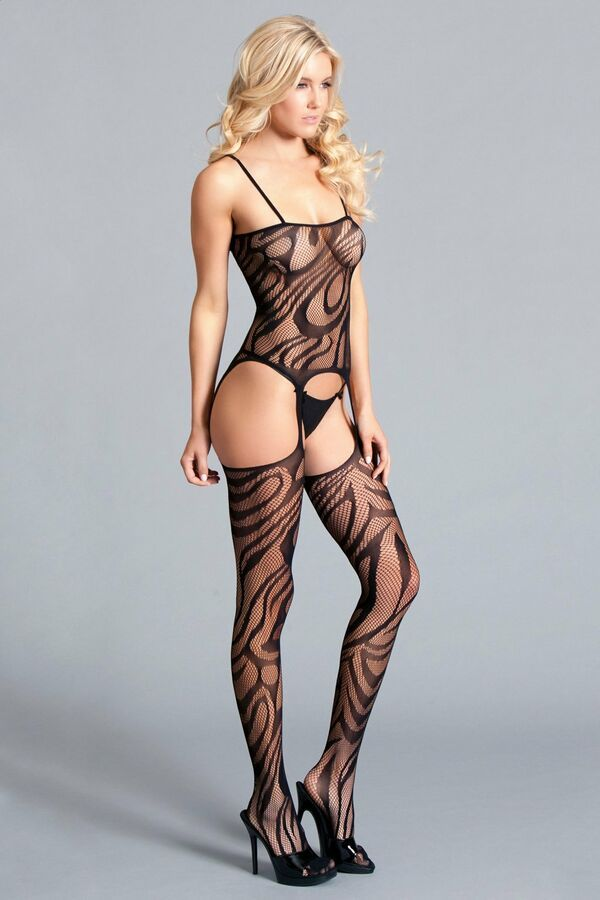 144c84b1002 Be Wicked Spaghetti Strap Suspender Bodystocking Black Lace Lingerie Hosiery  Strap Suspender Wicked