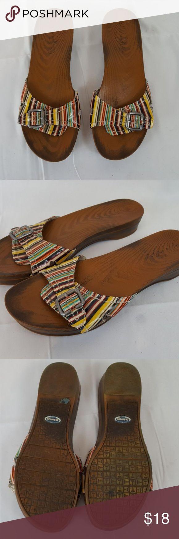 Striped Dr Scholl's Retro Sandals Cute Dr. Scholls sandals. Good condtiion Dr. Scholl's Shoes Sandals