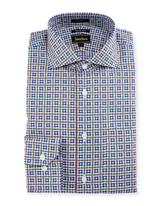 Trim-Fit Plaid Shirt, Blue by Neiman Marcus at Neiman Marcus Last Call.