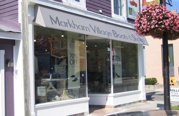 Stationary awning with graphics for Makrham Village