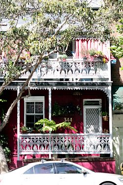 victorian terraces and a gumtree