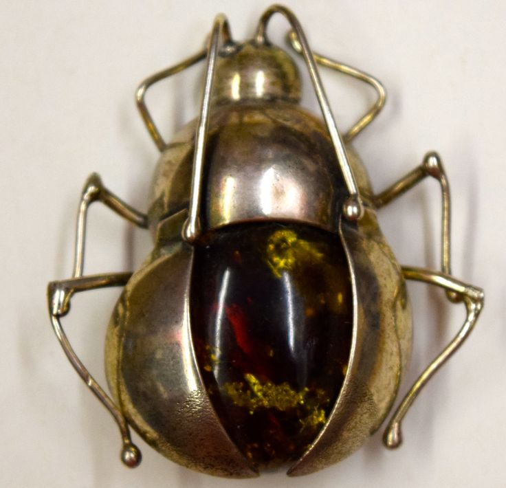Green Baltic Amber Bug Brooch Pin
