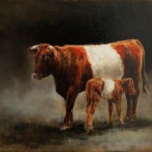 Lakenvelder koe met kalf schilderij Schilderijen - Nanouk Weijnen | Beeldend kunstenares