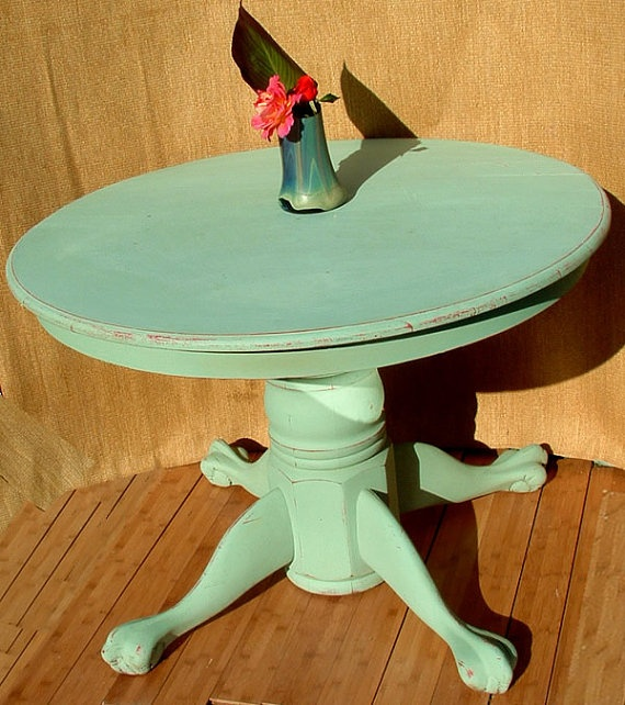 Round Dining Table Vintage Pedestal Claw Foot By