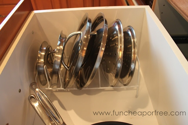 organize lids with cheap drying racks