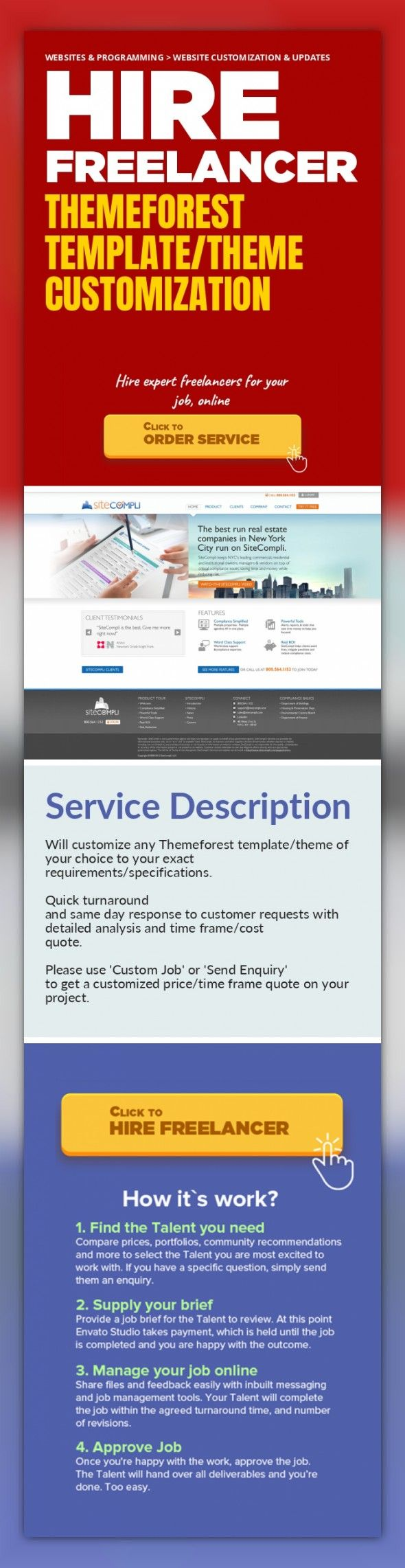 Themeforest Template/Theme Customization Websites & Programming, Website Customization & Updates   Will customize any Themeforest template/theme of your choice to your exact requirements/specifications.     Quick turnaround and same day response to customer requests with detailed analysis and time frame/cost quote.    Please use 'Custom Job' or 'Send Enquiry' to get a customized price/time frame q...
