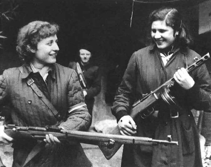 """With the rifle is Béláne Havrilla. She wound be executed for her participation. Mária Wittner holds the PPSh-41. Wittner was also imprisoned but escaped execution, freed in 1970, and was later recognized by the post Communist government with The Grand Cross, the highest order given to non-Heads of State by Hungary."""