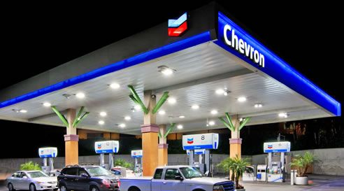 Chevron gas station at Monarch Bay Plaza shopping center with ...