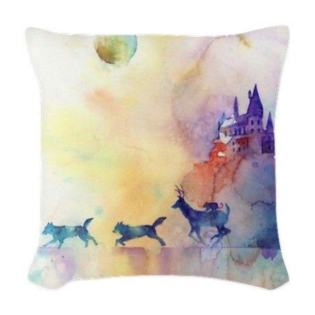 Pastel Castle Woven Throw Pillow