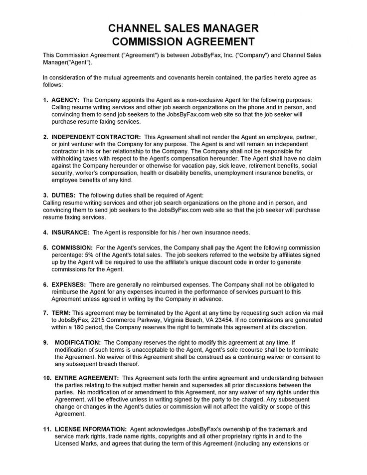 Get our sample of sales compensation agreement template in