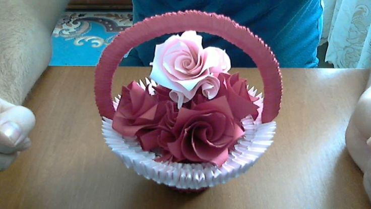How to make 3d origami basket with flowers ( model 2)