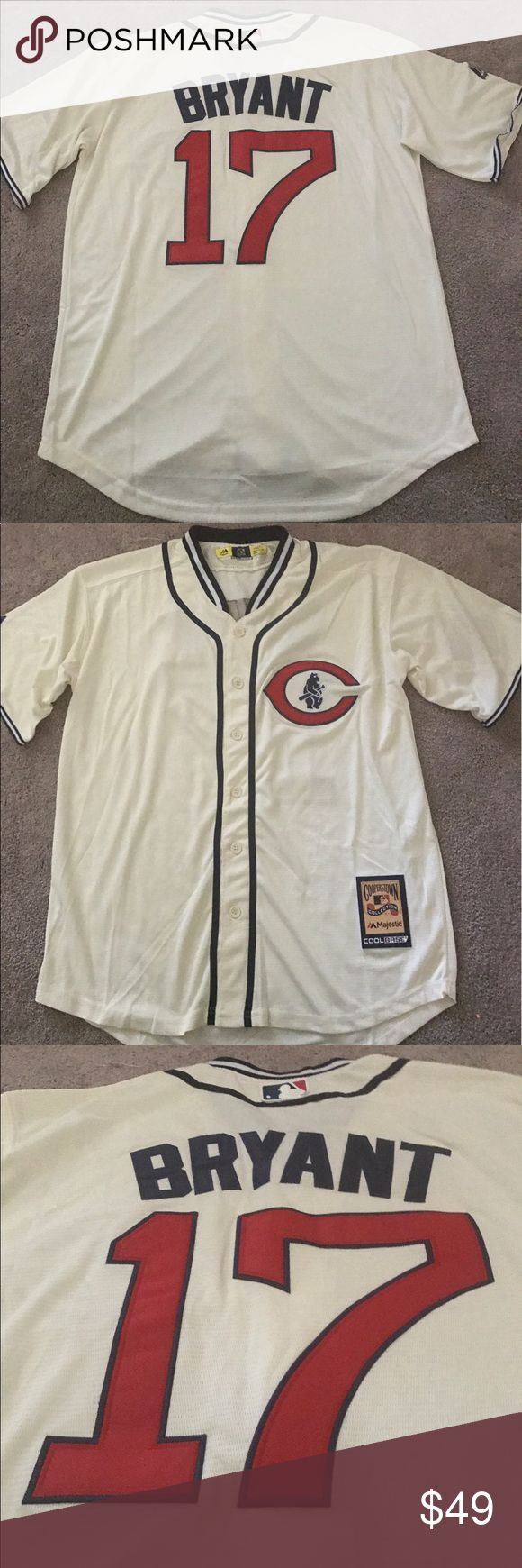 Kris Bryant Cubs 1929 Throwback jersey (Medium) Chicago Cubs Kris Bryant 1929 Throwback jersey. Brand new with tags, fully embroidered Majestic Athletic Cooperstown Collection jersey. Please check my other listings for more Cubs merchandise! Many more styles/sizes available for men, women and kids! Majestic Shirts Casual Button Down Shirts