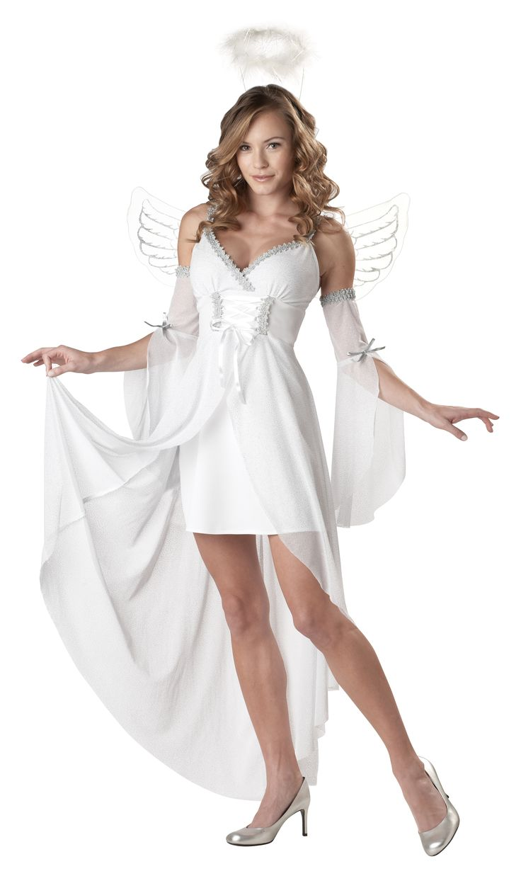 Heaven's Angel Ladies Halloween Costume - Not just for Halloween, it could be for a Christmas costume party, a performance onstage, or use it as a fairy godmother costume.  This is a beautiful Heaven's Angel costume. This is a sexy yet elegant take on the popular costume.  This Angel costume has 5 pieces to it. The thin-strap dress is short with a long, attached train. #costume #yyc #calgary #angel #classic