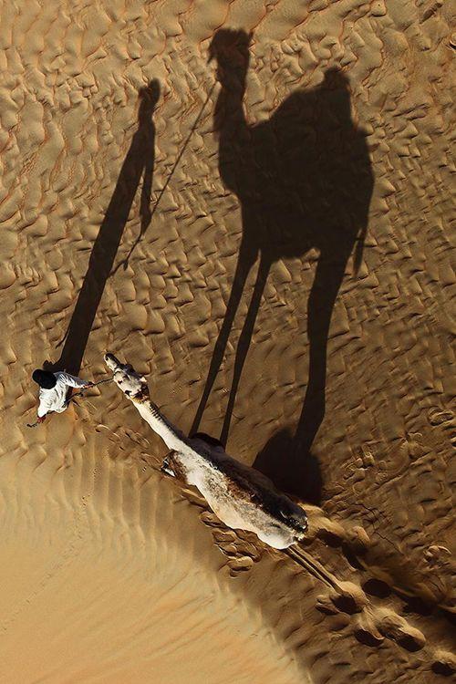 Aerial shot taken in Liwa Desert in Abu Dhabi