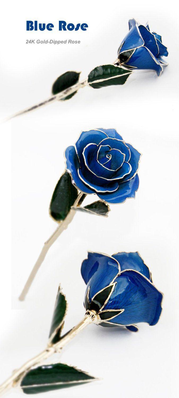 DeFaithLong Stem Blue Rose Dipped In 24K