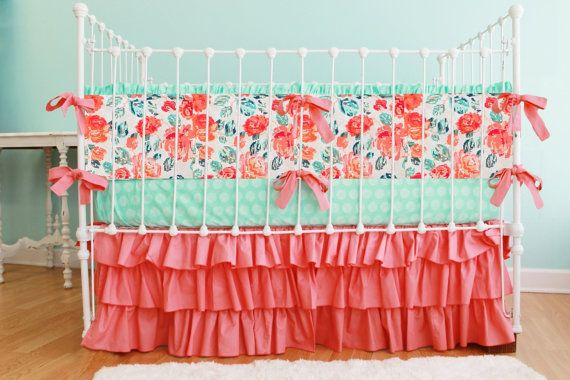 Coral Mint and Navy Baby Bedding, Custom Baby Girl Bedding Set featuring mint and coral rose print