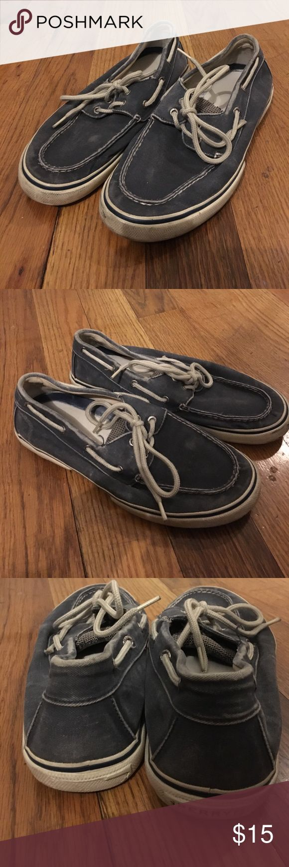 Sperry Top Sider Blue Boat Shoes Size 9 Well loved condition - please review all photos for wear / markings. Interior sole is not original. There is wear to back heel where the rubber is worn thru- see photos. Feel free to make an offer! Sperry Top-Sider Shoes Boat Shoes