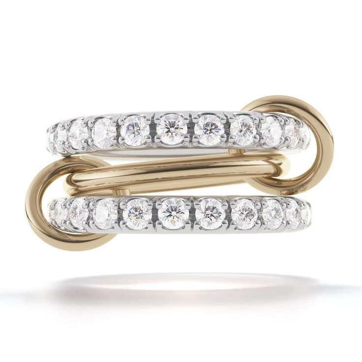 The Juno engagement ring by Spinelli Kilcollin features almost 5 carats of white diamonds entirely set around two bands for an alternative to a traditional ring. The wedding jewellery designer creating jewelry for both men and women on the big day in the most unusual and alternative ways: http://www.thejewelleryeditor.com/bridal/interview/spinelli-kilcollin-alternative-wedding-collection-cool-engagement-rings/ #jewelry #jewelry