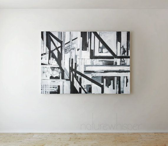 AVAILABLE - Paths Across - B&W Abstract Painting