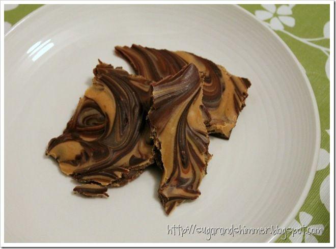 Creamy Peanut Butter & Chocolate Bark | desserts | Pinterest