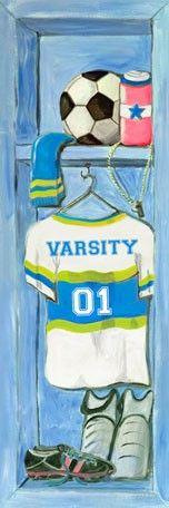 """""""Girl's Soccer Locker"""" canvas wall art by Jones Segarra for Oopsy daisy, Fine Art for Kids $119"""