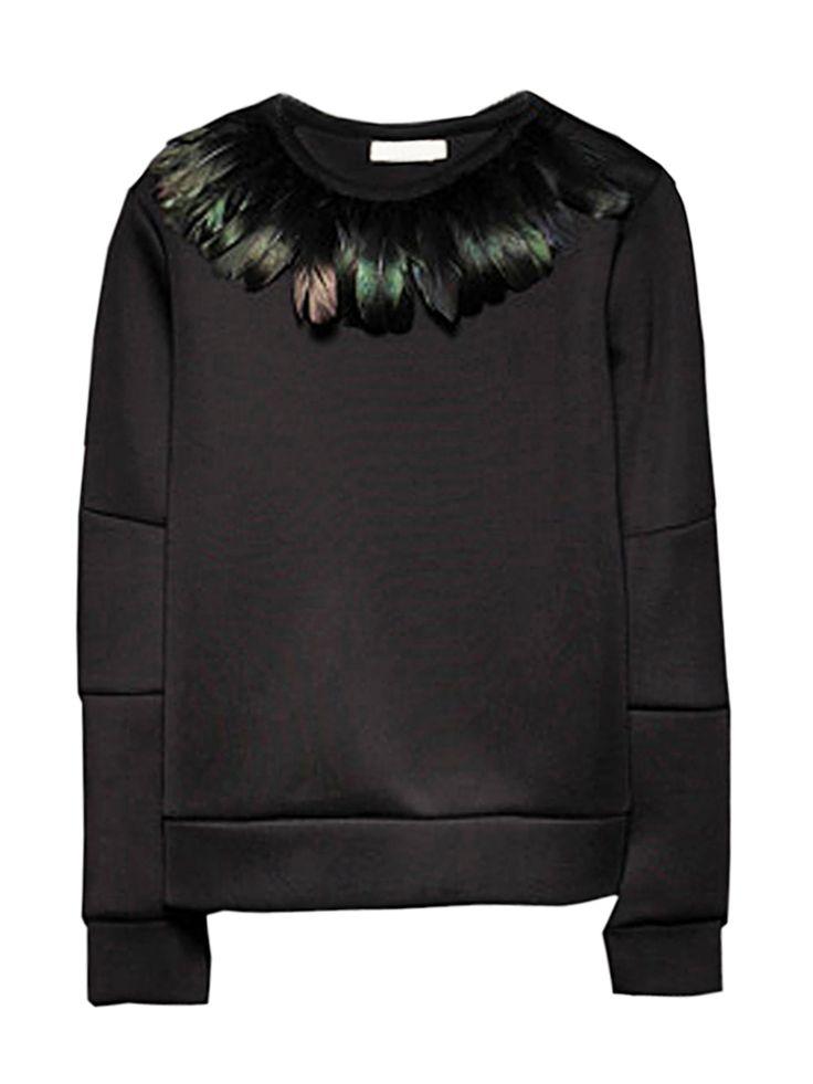Choies Unisex Balck Sweatshirt With Feather | Choies