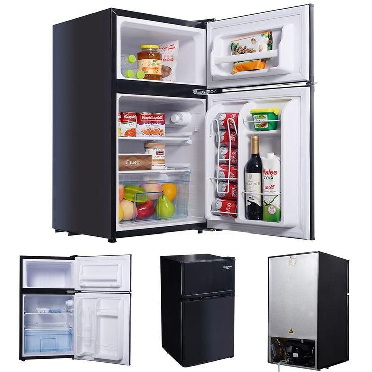 Costway Black 2 Door 3.4 Cu. Ft Compact Refrigerator Freezer CFC Free Furniture Home