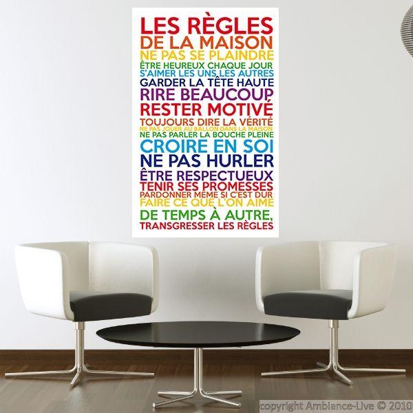 Sticker poster les r gles de la maison multicolore - Poster les regles de la maison ...