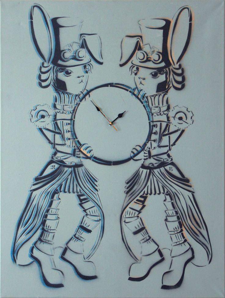 Twins - rabbit - time - steampunk - clock