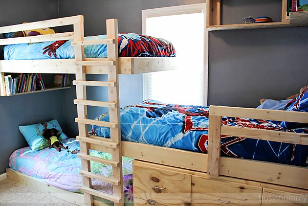 Triple Bunk Bed with Storage. Maybe do the top and middle, leave bottom for reading nook.