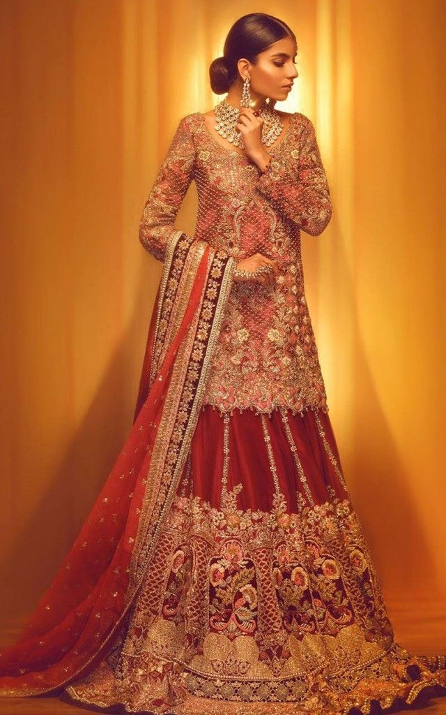 57286ff9599 Pakistani Bridal Dresses for Barat Day In Rust Color