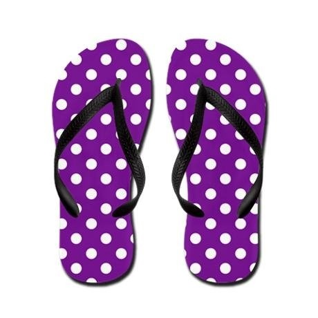 Purple Polka Dot Flip Flops