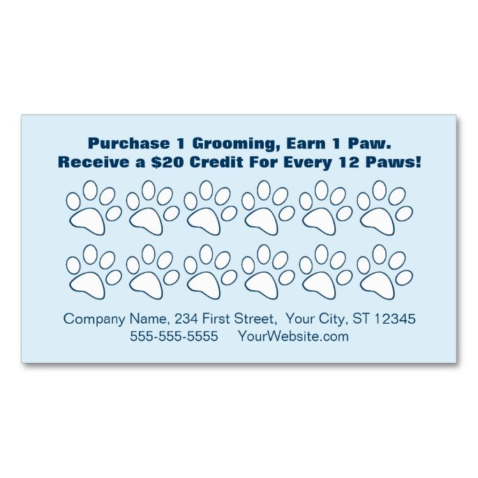 pet grooming customer loyalty card double sided standard business cards pack of 100 this is a. Black Bedroom Furniture Sets. Home Design Ideas