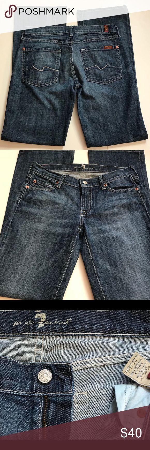 Seven For All Mankind Boot Cut Low Rise Jeans Seven For All Mankind Boot Cut Low Rise Jeans size 28 x 30.5 Excellent condition!  I'm a speedy shipper and we have a smoke free home. Additional measurements upon request. I'm always open to reasonable offers. Seven For All Mankind Jeans Boot Cut