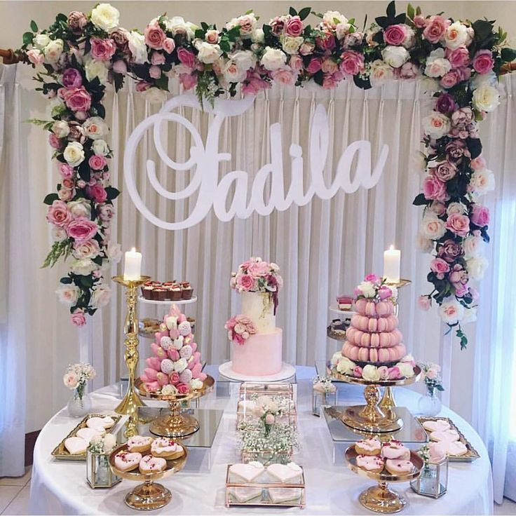 Delivered the cake on the weekend for @__sweetlily and couldn't help sticking around to see this table come together. I'm in lurrrve Fadila's Aqiqa Prop hire & styling: @style.my.sweets Strawberry tower: @chocobonau Macaron tower: @mini_indulgences Cake: @donttellcharles Doughnuts: @jojsweets Cookies: @sweeteve1 Cupped dessert: @sweets_dlites & @zahra_h83 Fadila name: @lettersbyloulou Cake topper and flowers: @lillypadweddings