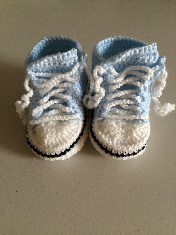 Handmade Crocheted Pale Blue  Converse  Style Baby Booties